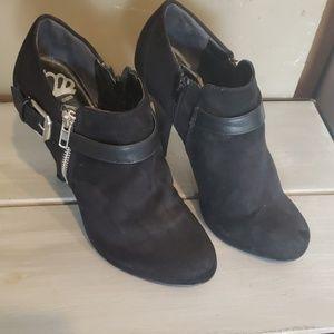 Fergalicious black faux suede bootie heels